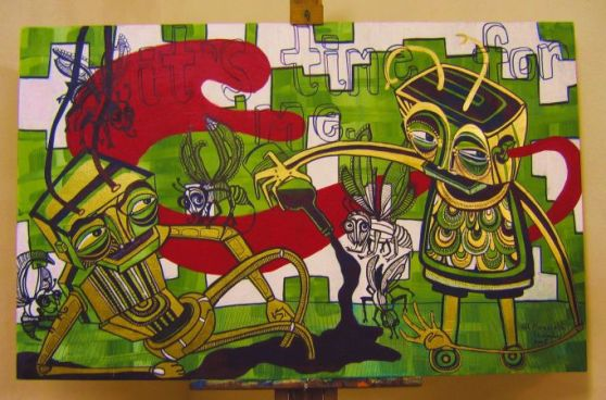 'Beasties', acrylic and paint marker on canvas, approx 100 x 130cm, not for sale