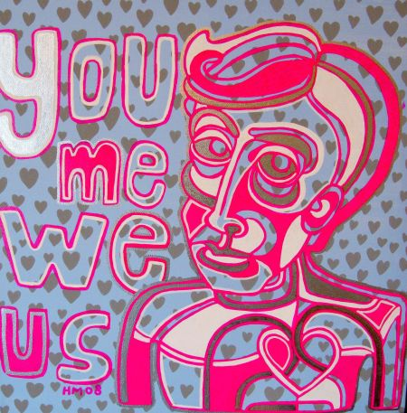 'You Me We Us', acrylic and paint marker on canvas, 51 x 51cm
