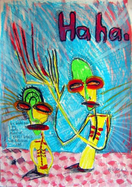'Ha Ha', oil pastel and aquarelle pencil on card, approx. 40 x 50cm, not for sale