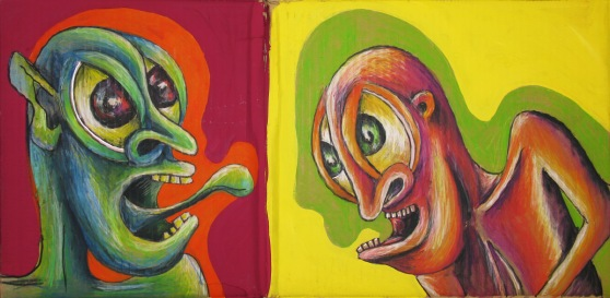 'Cardboard Demons', aquarelle pencil and acrylic paint on cardboard, approx. 45 x 60 cm, not for sale