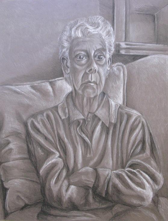 'Grandma Eleni', colour pencil on card, not for sale