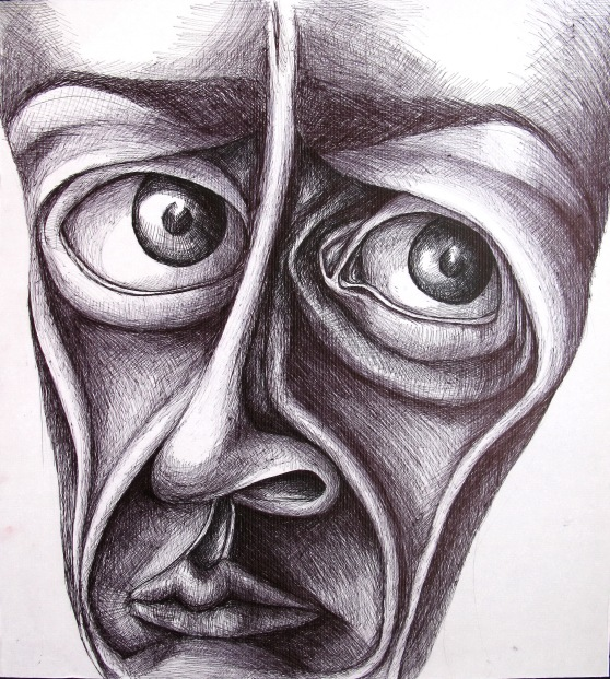 Untitled, biro on cardboard, approx. 60 x 70 cm, not for sale