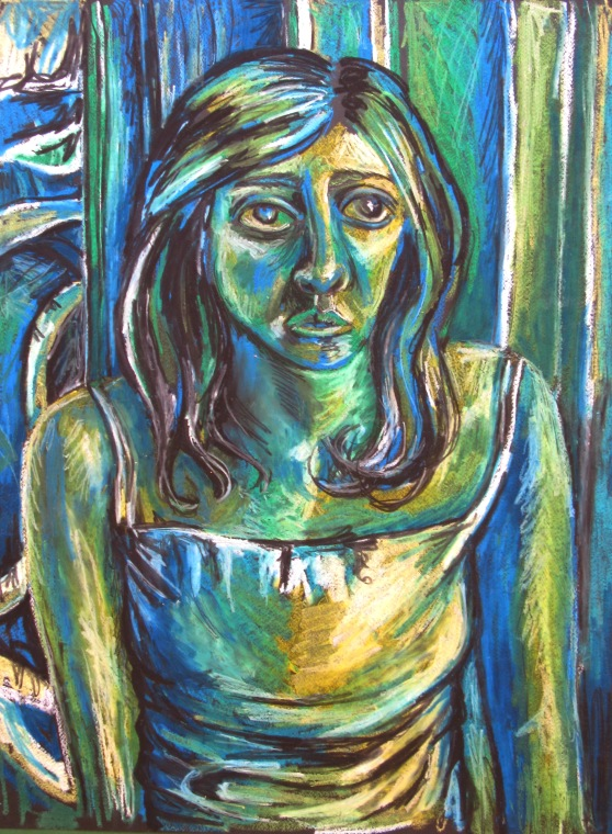 'Angelina', oil pastel on card, approx. 30 x 50cm, not for sale