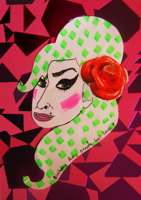 'Amy' (birthday card), felt tip marker and collage on postcard, A5