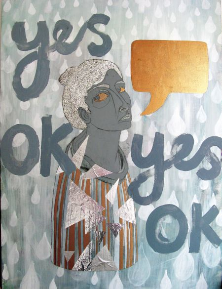 'Yes, ok', mixed media on canvas, 76 x 100xm, FOR SALE